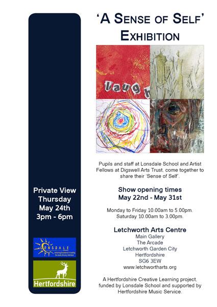 A Sense of Self exhibition poster at Letchworth Arts Centre