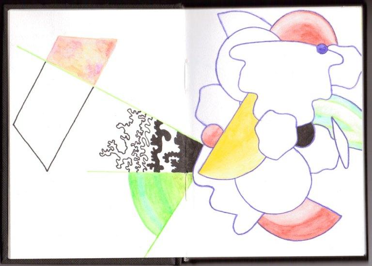 sketchbook03 doodling away the glue, Jo Howe, the process of being an Artist