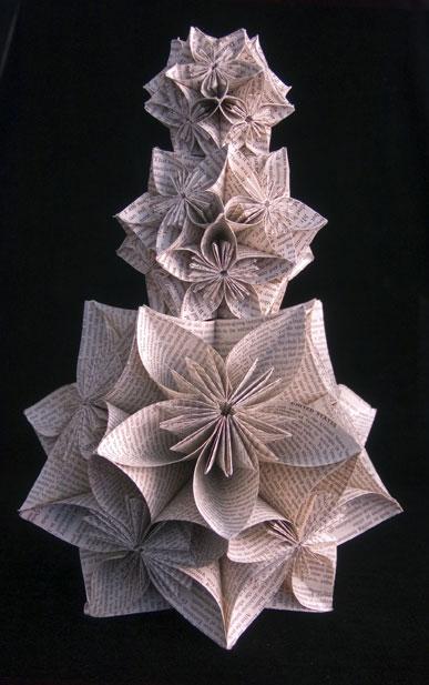 Kusudama-Tower Jo Howe Book Sculpture