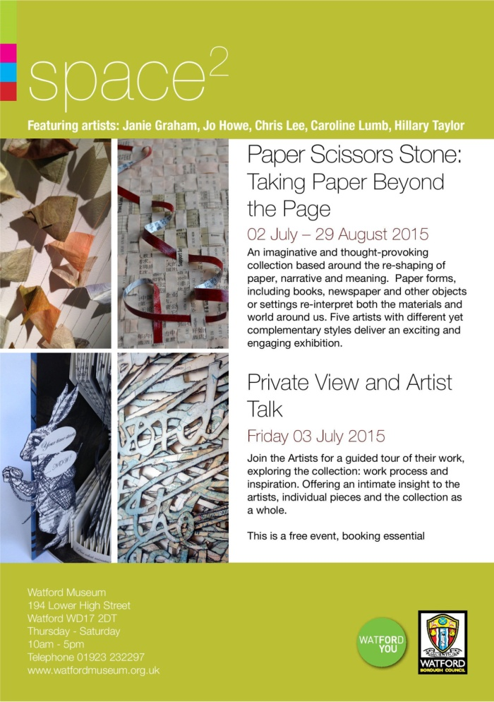 Exhibition Invite paper scissors stone at watford museum